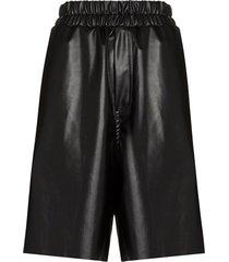 natasha zinko wide-leg faux leather shorts - black