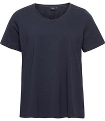 t-shirt plus cotton basics loose fit t-shirts & tops short-sleeved blå zizzi