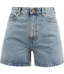 mid-rise acid-wash denim shorts