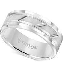 triton men's white tungsten carbide ring, 8mm diamond-cut wedding band