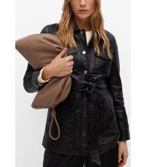 mango women's saharian leather jacket