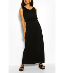 zwangerschap geplooide maxi jurk met ronde hals, zwart