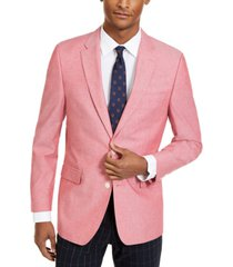 tommy hilfiger men's modern-fit red chambray sport coat