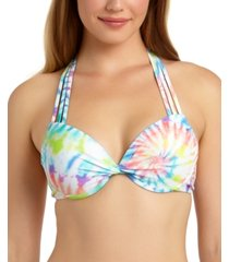 california waves juniors' tie-dye printed underwire push-up bikini top, available in d/dd, created for macy's women's swimsuit