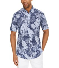 club room men's brody leaf tropical print short sleeve shirt, created for macy's