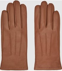 reiss belle - leather gloves in camel, womens, size xxl