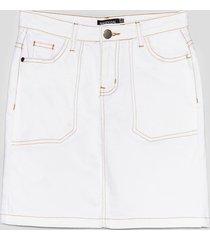 womens compare and contrast stitch denim mini skirt - ecru