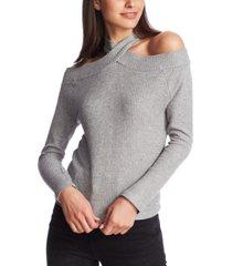 1.state high-neck cold-shoulder top