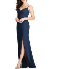 women's dessy collection crisscross seam crepe gown, size 18 - blue