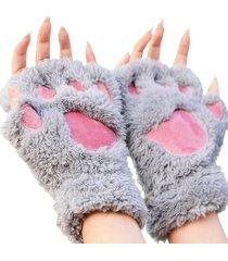 guanti senza dita in peluche