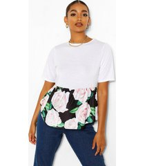 maternity floral print contrast smock top, white