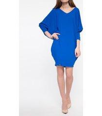 sukienka niebieska dekolt w szpic
