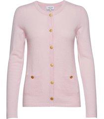 cardigan gold buttons gebreide trui cardigan roze davida cashmere