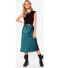 womens just my type satin midi skirt - emerald