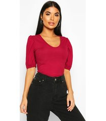 petite ribbed v-neck puff sleeve t-shirt, berry