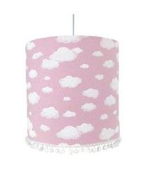 lustre tubular pompom nuvem rosa quarto bebê infantil menina