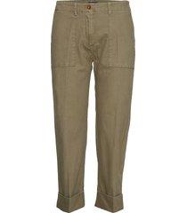 d1. cropped utility canvas pant pantalon met rechte pijpen groen gant