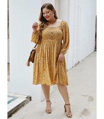 plus talla calico amarillo cuadrado cuello mangas largas vestido