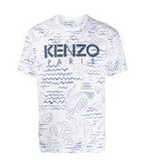 kenzo camiseta com estampa de sereias - branco