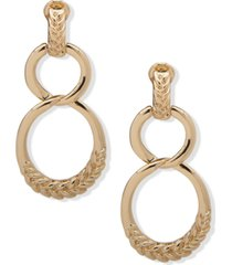 anne klein gold-tone braided texture linked loop clip-on double drop earrings
