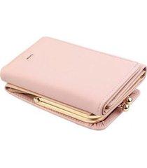 billetera mujer corta plegable cuero pu monedero b393 rosado