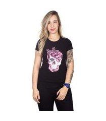 camiseta 4 ás manga curta caveira feminina