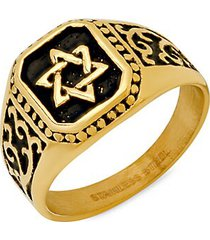 18k goldplated & stainless steel star of david square ring