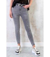 skinny jeans high waist grijs