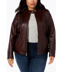 cole haan plus size leather moto jacket