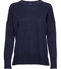 d1. cotton cashmere crew stickad tröja blå gant