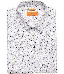 egara orange men's blue floral extreme slim fit dress shirt - size: 16 34/35