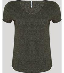 blusa feminina básica manga curta decote v cinza