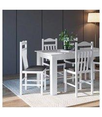 conjunto mesa com 4 cadeiras branco e preto lilies móveis