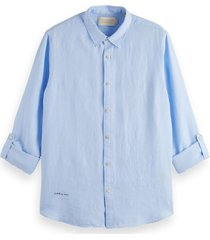 scotch & soda 160775 linnen shirt 0765 blue -