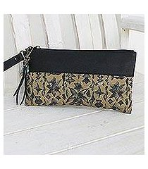 leather accent silk wristlet, 'casually exotic' (thailand)