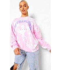 oversized tie dye san francisco sweater, pale pink