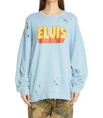 women's r13 elvis graphic distressed sweatshirt, size x-small - blue