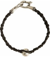 silver bead leather braid bracelet