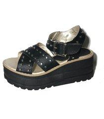 sandalia negra morena bsas cruzada