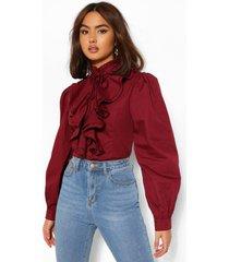 katoenen getailleerde poplin blouse met hoge hals en ruches, merlot