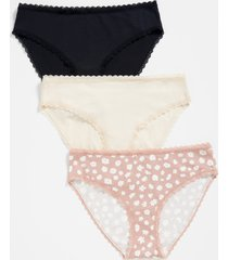 maurices plus size womens 3 pack solid & floral cotton bikini pantsies pink