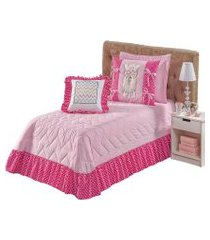 cobre leito colcha kit lhama solteiro 5 peças rosa