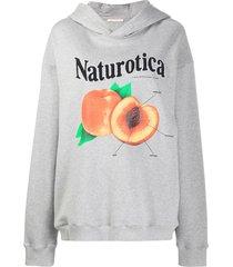 christopher kane peach print hoodie - grey