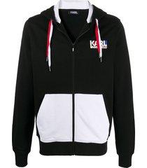 karl lagerfeld two-tone zip-up hoodie - black