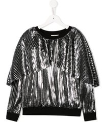 andorine metallic pleated sweatshirt - silver