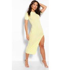 jumbo rib split side mini dress, yellow