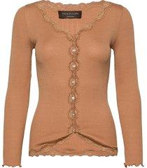 silk cardigan ls w/ lace gebreide trui cardigan oranje rosemunde