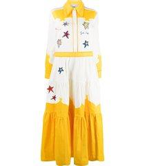 mira mikati embroidered patch shirt maxi dress - white