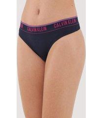 calcinha calvin klein underwear fio dental logo azul-marinho - azul marinho - feminino - algodã£o - dafiti