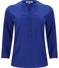 blusa pechera con botones unicolor color azul, talla s